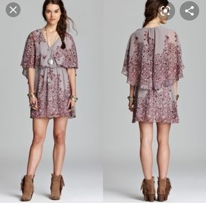 Free People Sparks Fly Cape Dress Gray Purple